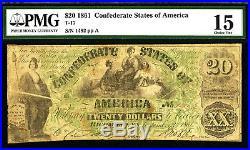 T-17 1861 $20 Confederate States of America CIVIL WAR PMG CHOICE FINE 15 PF-1