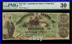 T-17 $20 1861 Confederate Currency CSA Civil War Graded PMG 30 Very Fine