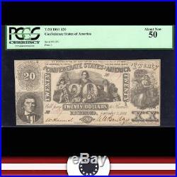 T-20 1861 $20 Confederate Currency Csa Pcgs 50 CIVIL War 51357