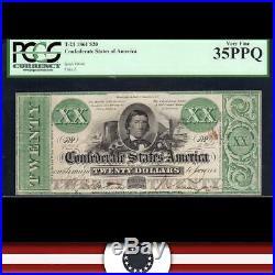 T-21 1861 $20 Confederate Currency Pcgs 35 Ppq CIVIL War Bill 9046