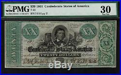 T-21 / PF-5 $20 1861 Confederate Currency CSA Civil War Graded PMG 30 VF