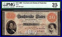 T-24 1861 $10 Confederate Civil War Note PF-1 Cr. 156 PMG 25 VF