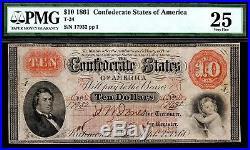 T-24 1861 $10 Confederate Civil War Note PF-1 Cr. 156 PMG 25 VF (Uncancelled)