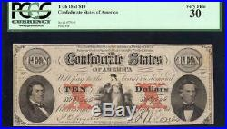 T-26 1861 $10 Confederate Currency Pcgs 30 CIVIL War Money 37646