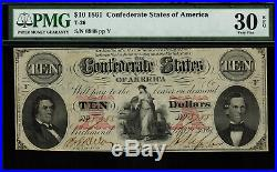 T-26 / PF-2 $10 1861 Confederate Currency CSA Civil War Graded PMG 30 EPQ