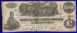 T-39 $100 Confederate Currency Very Fine CIVIL War Money 10359
