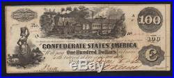 T-39 1862 $100 CONFEDERATE STATES Currency CSA Civil War Paper Money 4046