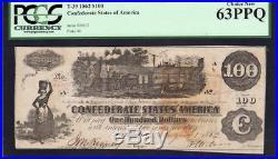 T-39 1862 $100 Confederate Currency PCGS 63 PPQ CIVIL WAR MONEY 24137