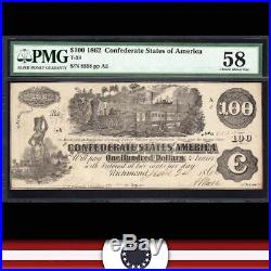 T-39 1862 $100 Confederate Currency PMG 58 comment CIVIL WAR MONEY 8558