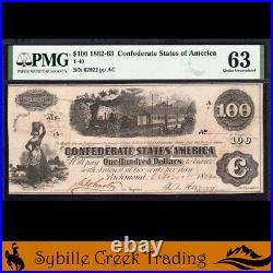 T-40 1862 $100 CONFEDERATE CURRENCY CIVIL WAR BILL PMG 63 comment 62922