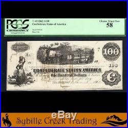 T-40 1862 $100 Confederate Train Note CIVIL War Money Pcgs 58 69056