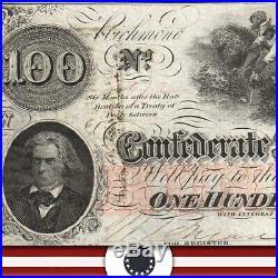 T-41 1862 $100 Confederate Currency Au CIVIL War Money 5772