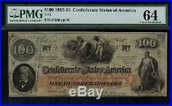 T-41 / PF-17 $100 1862 Confederate Currency CSA Civil War Graded PMG 64