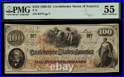 T-41 / PF-22 $100 1862 Confederate Currency CSA Civil War Graded PMG 55 AU