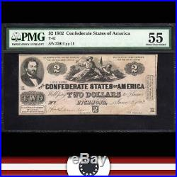 T-42 1862 $2 CONFEDERATE CURRENCY PMG 55 comment Civil War 32011