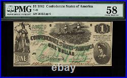 T-45 / PF-2 $1 1862 Confederate Currency CSA Civil War Graded PMG 58