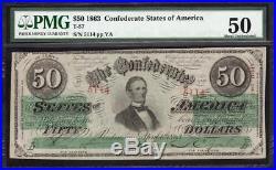 T-57 1963 $50 Confederate Currency CSA PMG 50 CIVIL WAR 5114