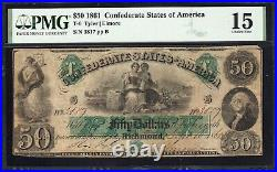 T-6 1861 $50 CONFEDERATE CURRENCY PMG 15 comment CIVIL WAR MONEY 3817