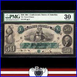 T-6 1861 $50 Confederate Currency Pmg 30 CIVIL War Money 607