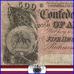 T-64 1864 $500 Confederate Currency CIVIL War Note 2058