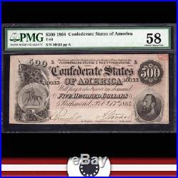 T-64 1864 $500 Confederate States Currency PMG 58 Civil War 30033