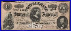 T-65 1864 $100 Confederate Currency CIVIL War Bank Note 25400