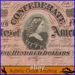T-65 1864 $100 Confederate Currency CIVIL War Bill 13300