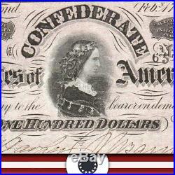T-65 1864 $100 Confederate Currency CIVIL War Bill 15532