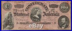 T-65 1864 $100 Confederate Currency CIVIL War Note 37771