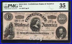 T-65 1864 $100 Confederate Currency Lucy Pickens Pmg 35 CIVIL War Bill 32275