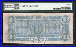 T-65 1864 $100 Confederate Currency Pmg 64 Epq CIVIL War Bill 506