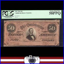 T-66 1864 $50 CONFEDERATE Currency Civil War Money CSA PCGS 58 PPQ 83957