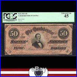 T-66 1864 $50 CONFEDERATE Currency PCGS 45 Civil War Money 73529