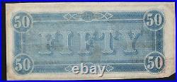 T-66 1864 $50 Confederate Currency CIVIL War Bill 17072-p