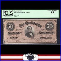 T-66 1864 $50 Confederate Currency PCGS 55 Civil War Note 37206