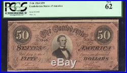 T-66 1864 $50 Confederate Currency PCGS 62 PPQ CIVIL WAR MONEY 83946