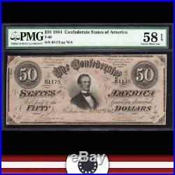T-66 1864 $50 Confederate Currency PMG 58 EPQ CIVIL WAR 61175