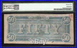 T-66 1864 $50 Confederate Currency Pmg 25 CIVIL War Bill 80549