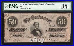 T-66 1864 $50 Confederate Currency Pmg 35 CIVIL War Bill 30078