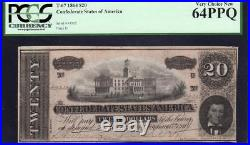 T-67 1864 $20 Confederate Currency Pcgs 64 Ppq CIVIL War Money 44333