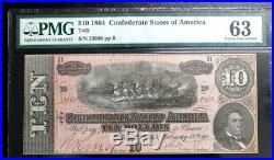 T-68 $10 Pmg 63 Choice Unc 1864 Confederate Currency CIVIL War Hand Drawn 8