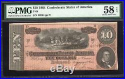 T-68 1864 $10 CONFEDERATE CURRENCY PMG 58 EPQ Civil War Money BLD17