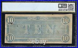 T-68 1864 $10 Confederate Currency Pcgs 55 CIVIL War Bill 60627