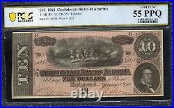 T-68 1864 $10 Confederate Currency Pcgs 55 Ppq CIVIL War Bill 46201