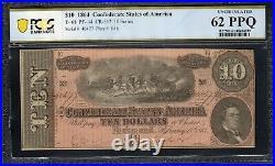T-68 1864 $10 Confederate Currency Pcgs 62 Ppq CIVIL War Bill 40477