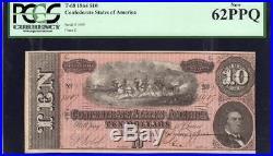 T-68 1864 $10 Confederate Currency Pcgs 62 Ppq CIVIL War Money 1409