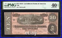 T-68 1864 $10 Confederate Currency Pmg 40 Epq CIVIL War Bill 75556