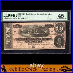 T-68 1864 $10 Confederate Currency Pmg 45 CIVIL War Bill 65668