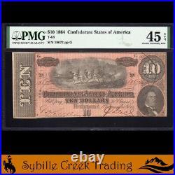 T-68 1864 $10 Confederate Currency Pmg 45 Epq CIVIL War Bill 18672