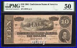 T-68 1864 $10 Confederate Currency Pmg 50 CIVIL War Bill 25595